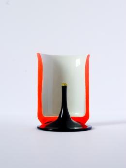 PORTE LETTRE Céramique, acrylique vinylique fluorescente, paillettes doré. (Ø 12 x h 10 cm).