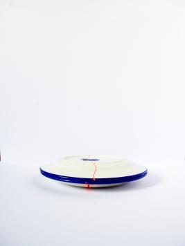 VIDE POCHE Céramique, acrylique vinylique fluorescente, paillettes doré. (Ø 20 x h 5 cm).